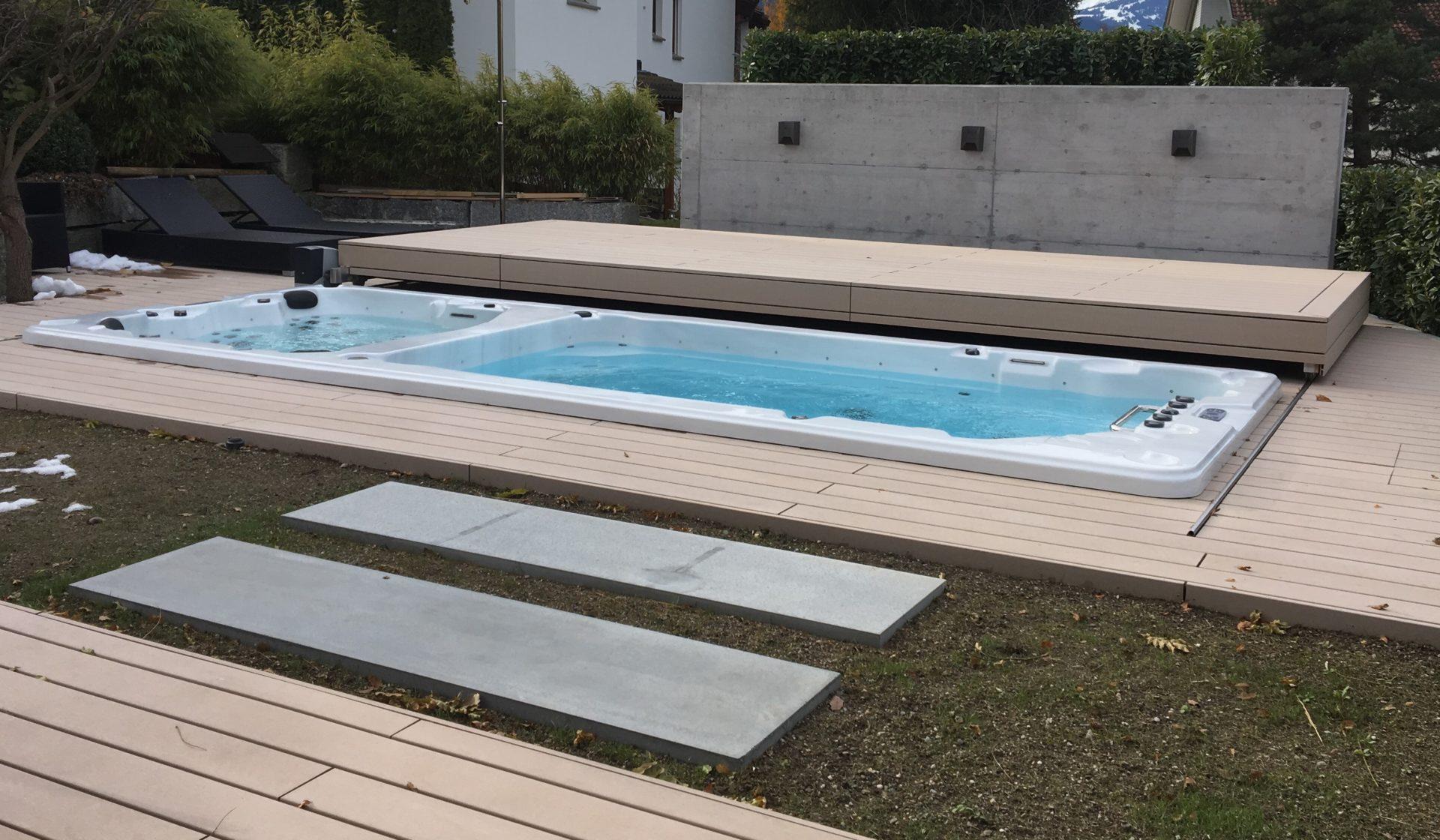 Schwimmspa mit begehbarer Abdeckung automatisch offnend
