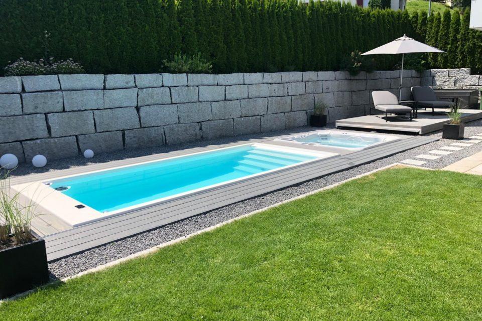 RRV Shwimmspa Pool Einbau mit automatischer Abdeckung begehbar